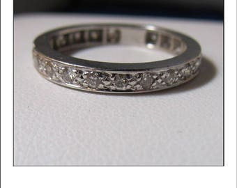 2nd Payment for Brenda Earl -- Vintage 14k White Gold Diamond Eternity Diamond Wedding Band Size 8.75
