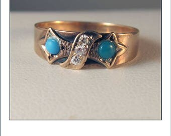 Antique Victorian Turquoise diamond 10k Rose Gold Ring