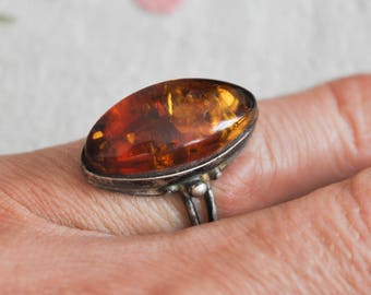 Vintage pressed cognac Baltic Amber 925 Silver ring.