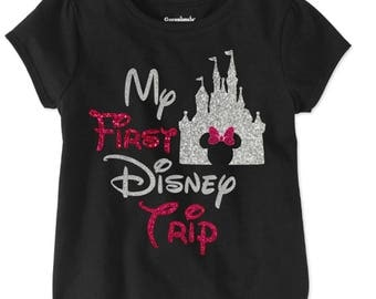 My First Disney trip shirt for girls / Pink & Silver Disney shirt /Cinderella Castle/Glitter Minnie Disney Shirt/ Disneyworld Girls Shirt