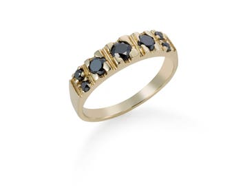14K Gold Geometric Black Diamonds Ring, Solid Gold Multistone Ring - Black Diamonds Statement Gold Ring - Unique Engagement Gold Ring