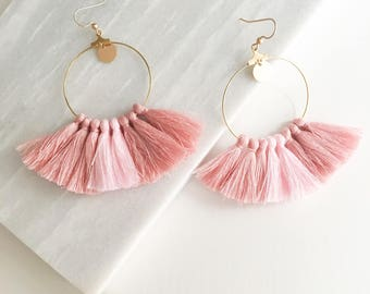 Gold plated hoops, sequins and tassels