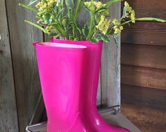 Hot Pink Rain Boots, Re-purposed Fresh Flower Vase, Spring Home Decor, Rain Showers