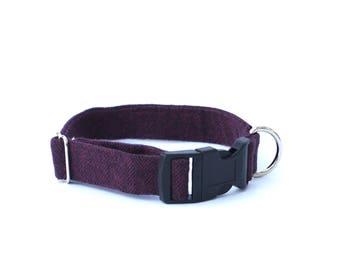Purple Herringbone Dog Collar