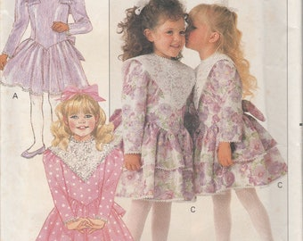 1988 Sewing Pattern Butterick 3034 girls party dress size 2-3-4