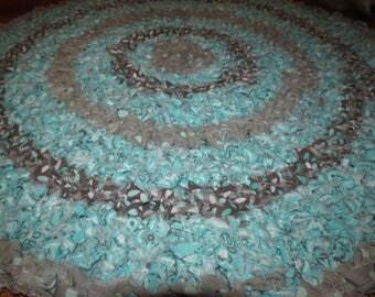 Crocheted Rag Rug 100% Cotton Aqua Grey Colors  24 inches