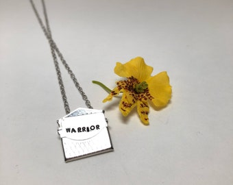 Warrior envelope hand stamped necklace