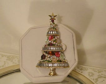 OOAK Crystal Christmas Tree Brooch with Baguette Tiers and Garland