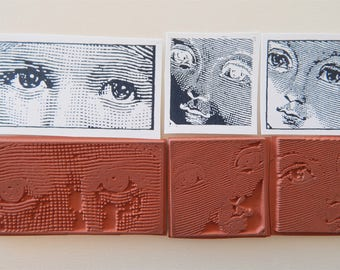 Eyes of a Child Unmounted Rubber Stamps Lot Faces Altered Art g