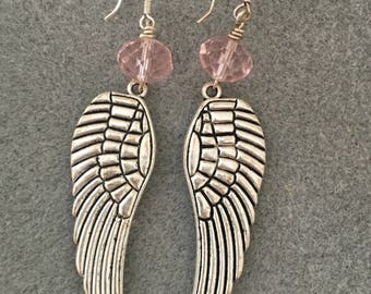 Angel Wing Earrings with  Pink Crystal Rondelle's