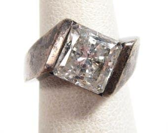 Vintage Sterling Silver Modernist Sparkling Square Cubic Zirconia Mod Ring Sz 4