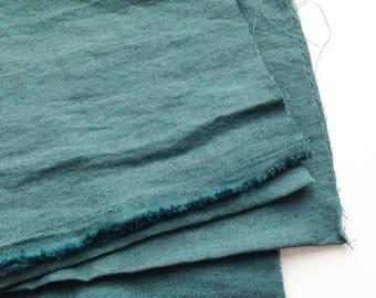 japanese pure linen fabric. medium weight linen. rudeback half look. 110cm (43in) wide. sold by 50cm (19in) long / half yard. rain blue