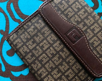 MINT CONDITION Ted Lapidus Paris Wallet Billfold 1980s Beverly Hills Rodeo Drive Designer similar high quality Louis Vuitton Leather Fabric