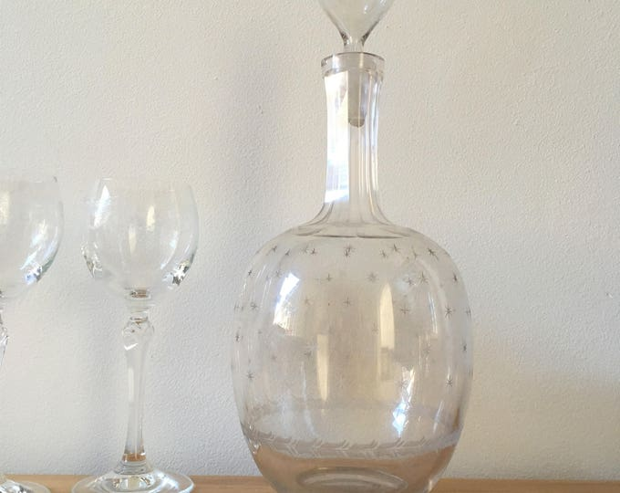 Featured listing image: Antique etched decanter, perfect gift for wine lovers, or addition to bar cart for dinner parties