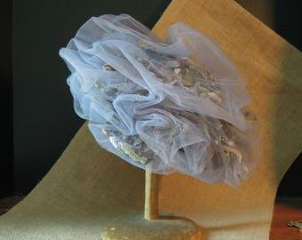 Vintage Blue Grey Tulle and Flower Pillbox Hat / Fascinator / Velvet Flowers / Spring Summer Hat