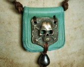 Skull and Bones, Leather, BRONZE & PEARL Necklace