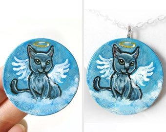 Russian Blue Cat Necklace, Angel Jewelry, Pet Loss, Hand Painted Wood Pendant, Pet Keepsake Gift, Pet Memorial Gift for Her, Cat Painting