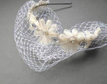 Chic Wedding Veil Flower Head Band SET. Mini Birdcage Blusher. Boho Modern Bridal Veil Style. CUSTOM Your Veil Style. Bandeau or Blusher.