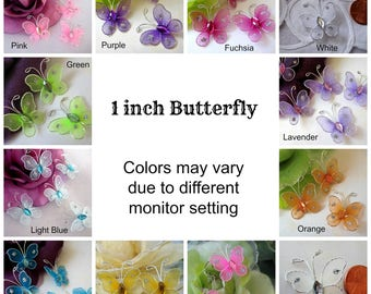 60 pcs, 1 inch Nylon Butterfly Pink, Blue, Fuchsia, Turquoise, Hot Pink, Lavender, Green, White, Orange, Ivory, Purple, Rhinestones Center