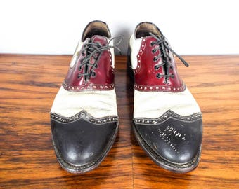 Vintage Footjoy Classic Black Red White Handcrafted Leather Golf Shoes 10.5D