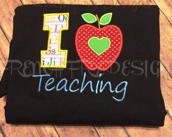 I Love Teaching Applique Grade SweatShirt Customized
