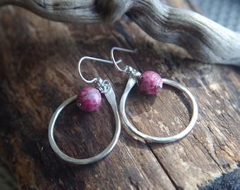 Fine Silver teardrop earrings - Lepidolite earrings - Hand forged Silver dangles