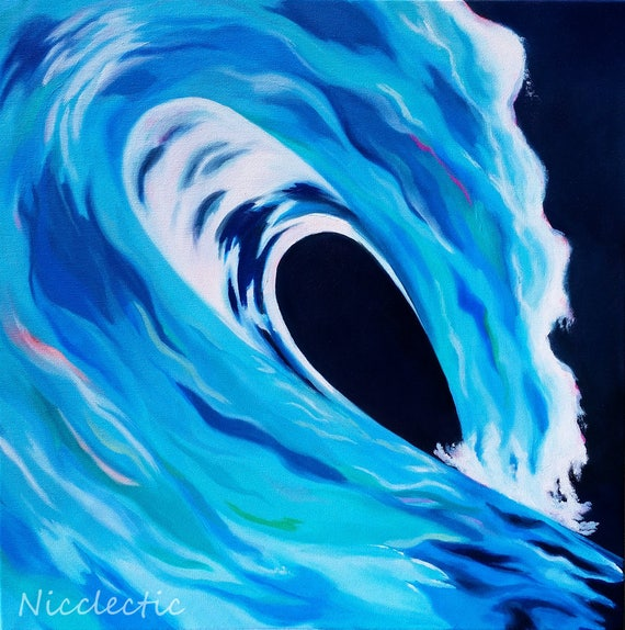 Wave painting, ocean artwork, beach house wall art, coastal decor, surf, blue and green wave barrel, oil painting of wave crash, surf, blue
