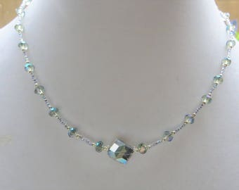 SPARKLING CRYSTAL- Handcrafted Women's Beaded Necklace- Bridal Jewelry