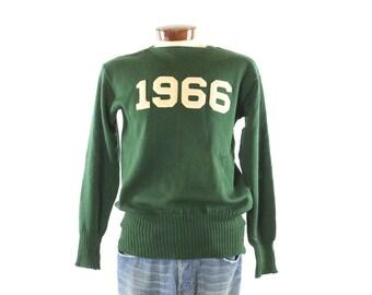 Vintage 60s School Sweater Dark Green Wool 1966 Varsity Football College Pullover Cardigan 1960s Mens Medium M