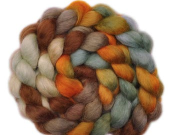 Hand painted spinning fiber - Wensleydale wool combed top roving - 3.8 ounces - Casual Race