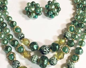 Vintage Triple Stranded Pearlized Green Beaded Necklace and Earrings Set Japan