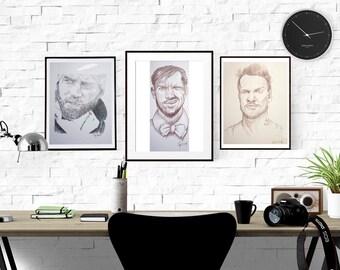 Signed Watercolor Prints, Men's Portrait Set, 8.5x11inches, Portrait, Men, Beards, drawing, sketch, Pencil Portrait, Charcoal art