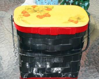 Basket Weave Box Purse Strawberries 1972