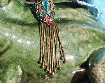 Vintage Brooch Pin 1940s Jewelry Pink Blue Gem Stones