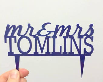 S A L E 'Mr & Mrs Tomlins' Cake Topper