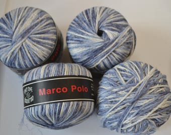 4 Skeins Marco Polo Yarn Knit One Crochet Too Color 621 Varigated Blue White