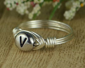 Letter V Monogram Initial Wrapped Ring- Sterling Silver, Yellow or Rose Gold Filled Wire Pewter Bead -Size 4 5 6 7 8 9 10 11 12 13 14