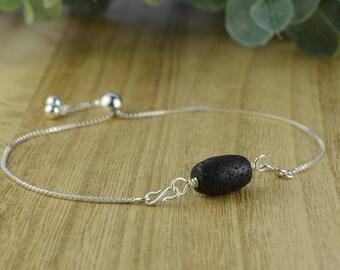 Black Barrel Shaped Lava Stone Adjustable Sterling Silver Interchangeable Charm/Link Bolo Bracelet- Charm, Bracelet Chain, or Both