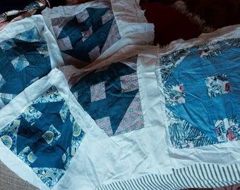 VINTAGE QUILT BLOCKS, churndash, graphic, geometric prints, mid century, hand sewn