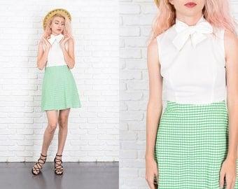 Vintage 70s White + Green Color Block Dress Mini Striped Checker Plaid A Line S 9963