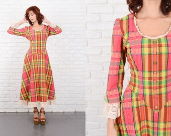 Vintage 70s Pink + Green Plaid Print Dress Boho Hippie Small S Maxi 10211