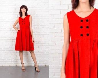 Vintage 80s Red Velvet Dress A Line Sleeveless Knee length XS 10615 red dress a line dress xs dress sleeveless dress vintage dress