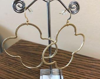 Gold quatrefoil earrings