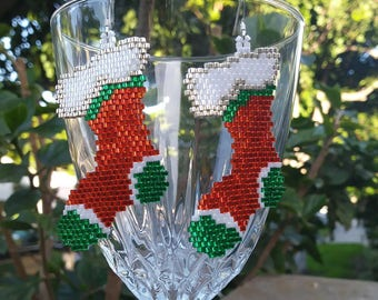 bead delica christmas stocking earrings