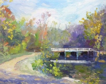 Original Plein Air Landscape Oil Painting In the  Morning Light