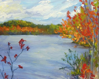 Plein Air Landscape Oil Painting on Canvas Fall Lake and Leaves