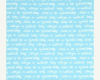 SUMMER SALE Sealed with a Kiss Aqua Love Words from Robert Kaufman