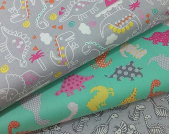 Girl Dinosaur Bundle from Timeless Treasures (3 Fabrics Total)