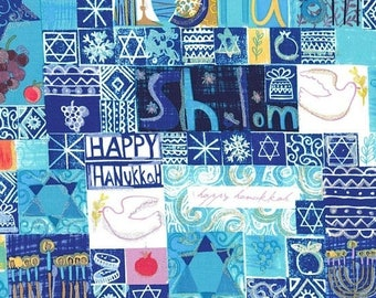 "SUMMER SALE End of Bolt - 14"" X 44"" - Shalom Hanukkah fabric from Michael Miller"