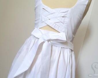 Smocked dress in white Adenor 4t